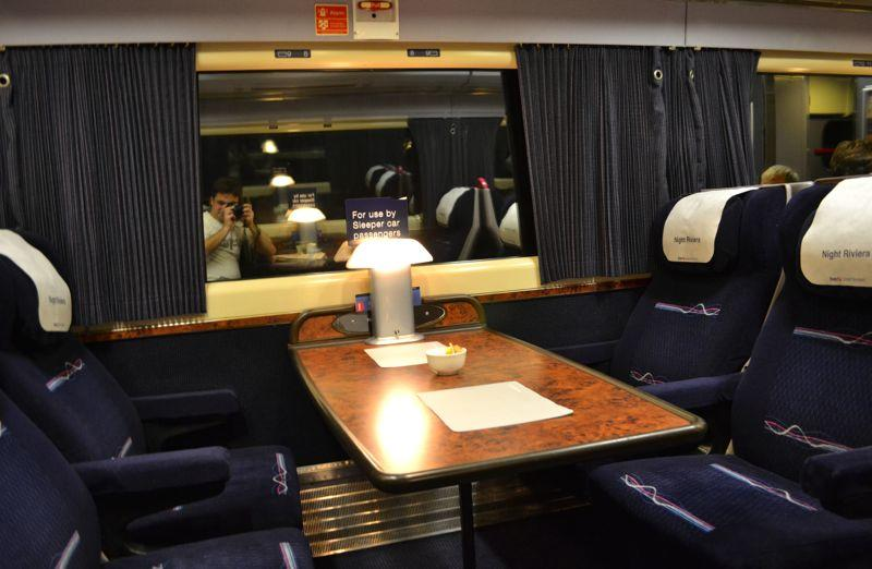 Buffet Car on the Night Riviera London to Penzance, Cornwall Sleeper Train