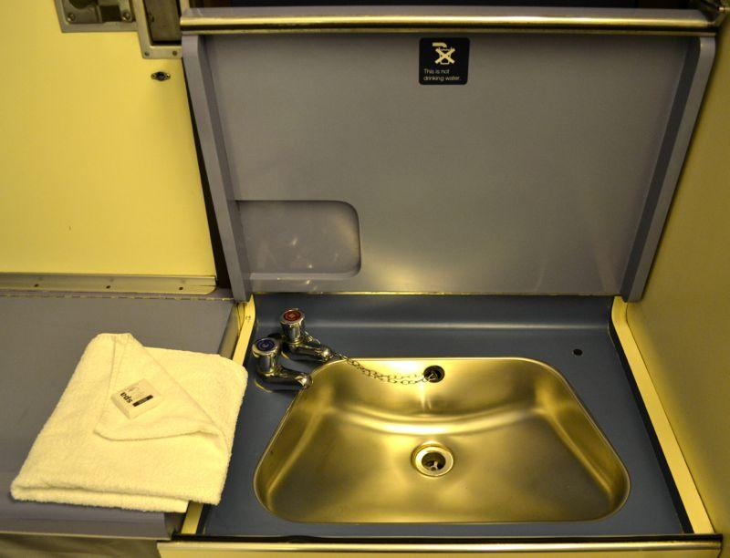 Washbasin on the Night Riviera London to Penzance, Cornwall Sleeper Train