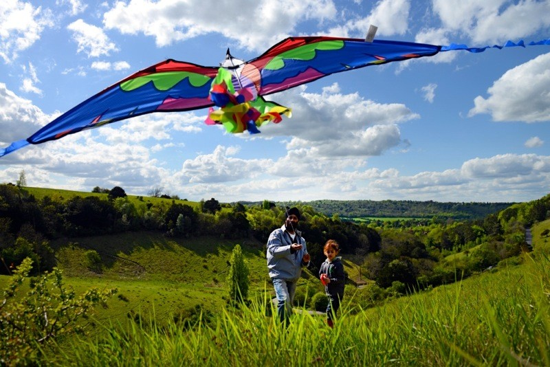 Family flying a kite at Box Hill, Surrey
