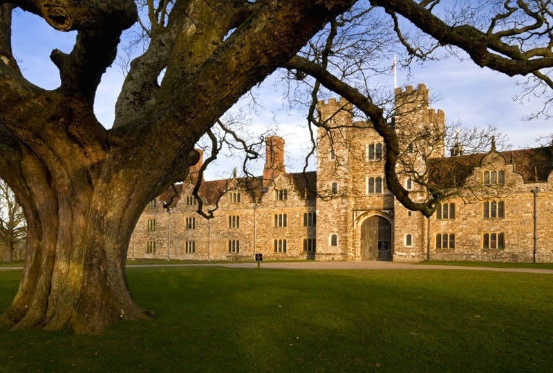 The west front of Knole, Kent. The central gatehouse was built by Henry VIII between 1543 and 1548, with later additions to the west front in the seventeenth-century