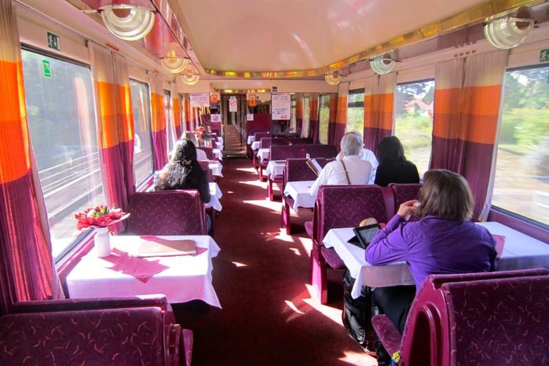 Berlin to Prague and Budapest Train Dining Carriage