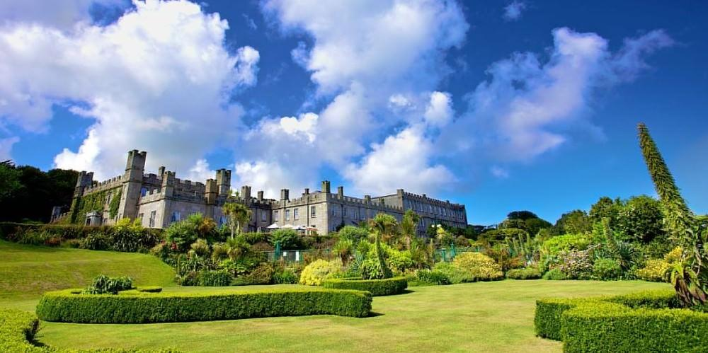 Gardens and Tregenna Castle Hotel building - St Ives Railway Station