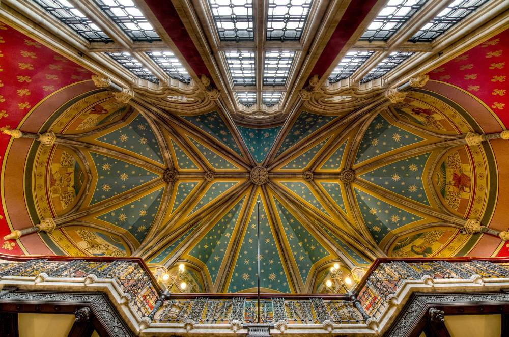 Interior roof of St Pancras Renaissance Hotel - London St Pancras International Railway Station