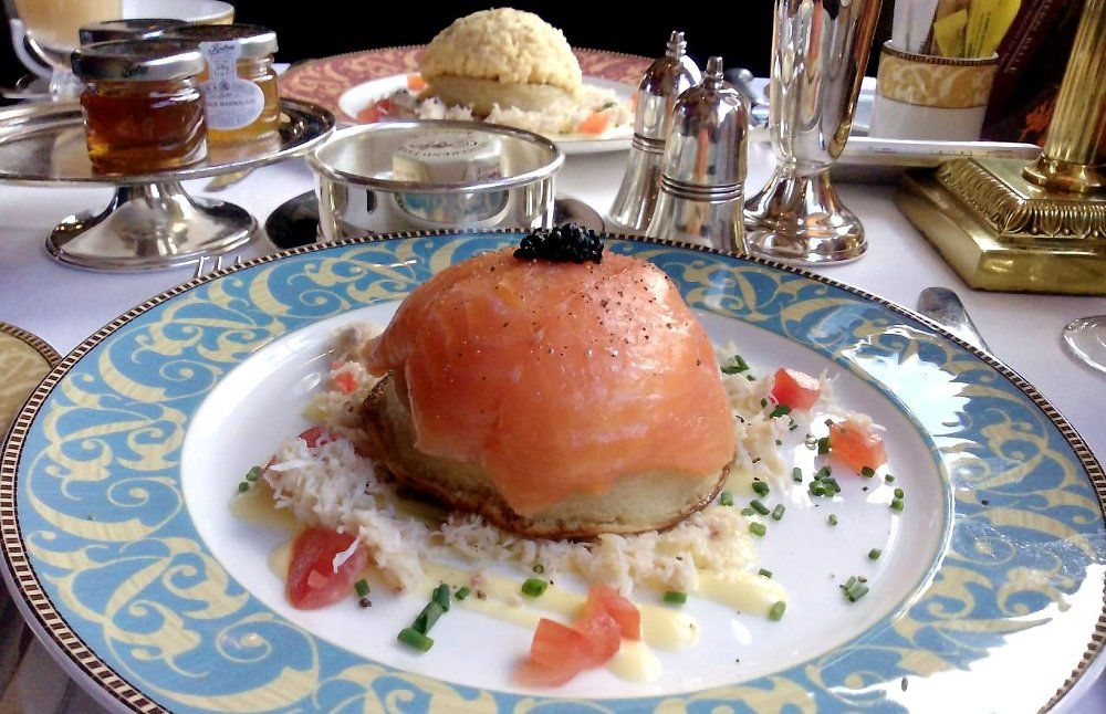 Smoked salmon and caviar crumpet on the Belmond Northern Belle