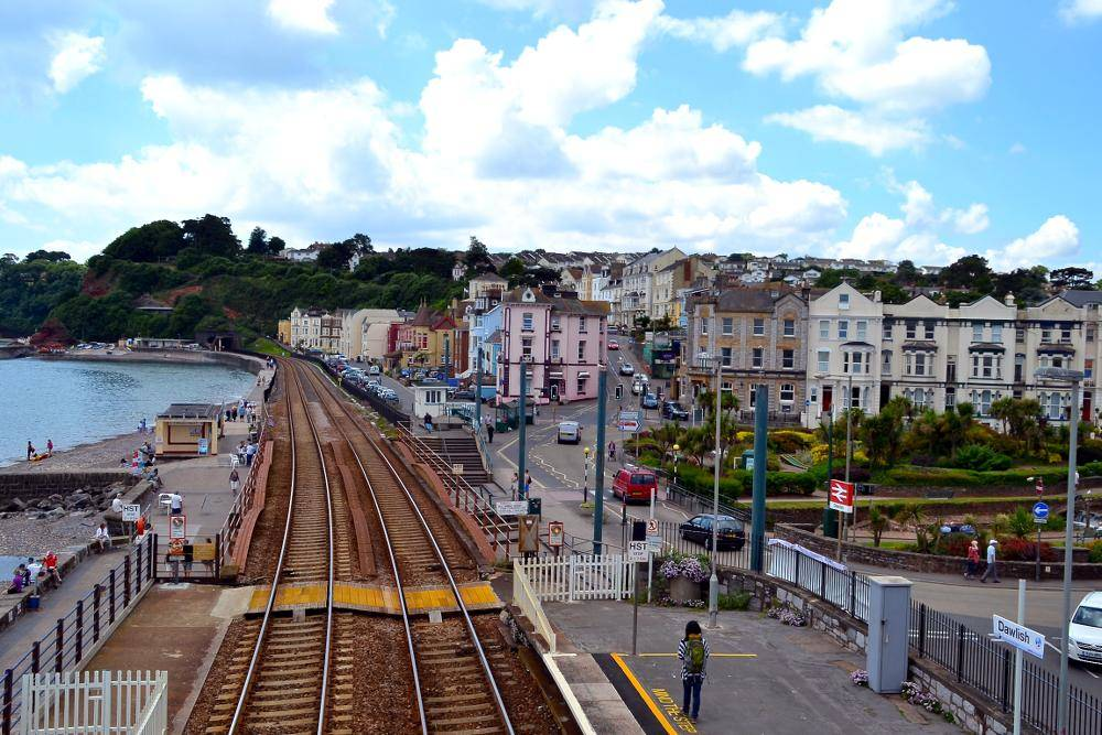 View from the footbridge from Dawlish Railway Station on the English Riviera Line