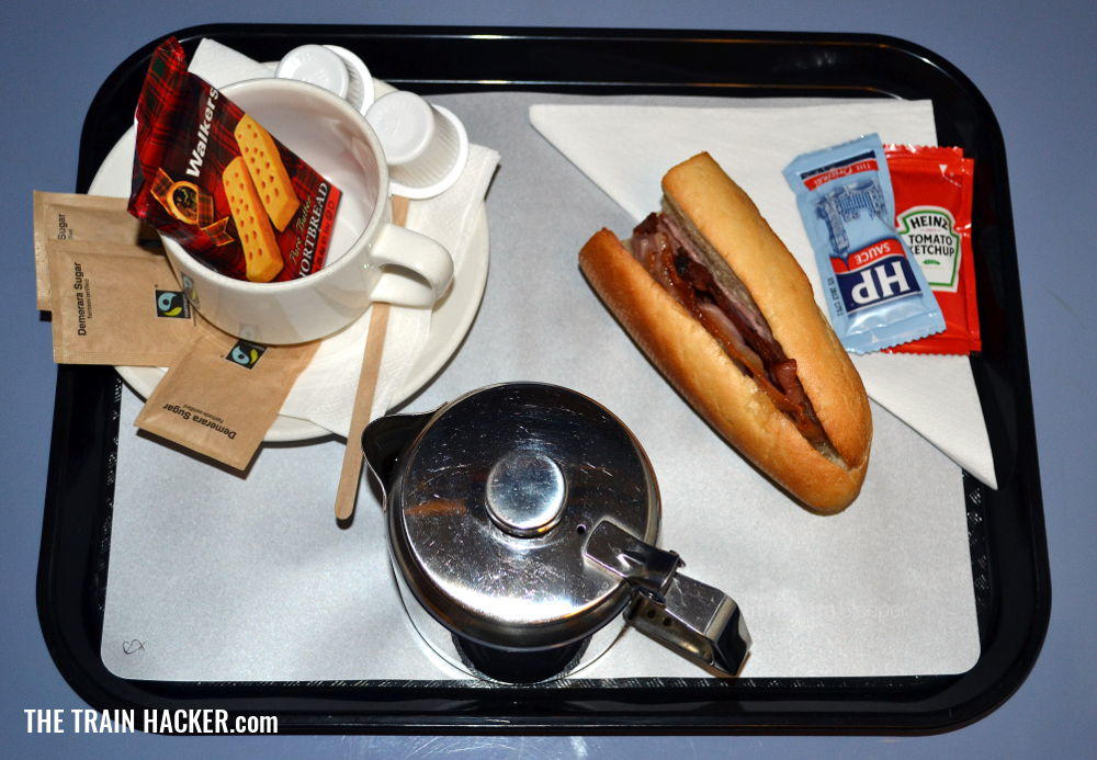 British style breakfast served on the Night Riviera Sleeper Train