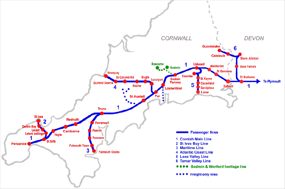 Map of railway lines in Cornwall