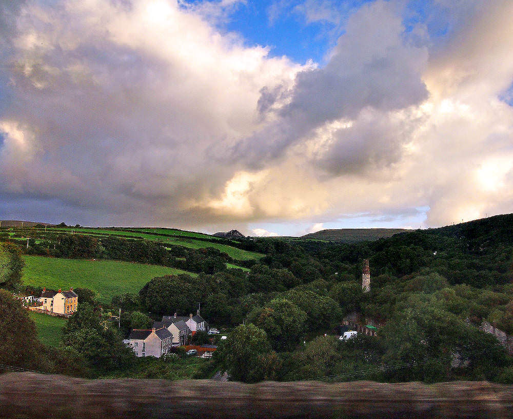 Cornwall landscape from the Night Riviera Sleeper Train