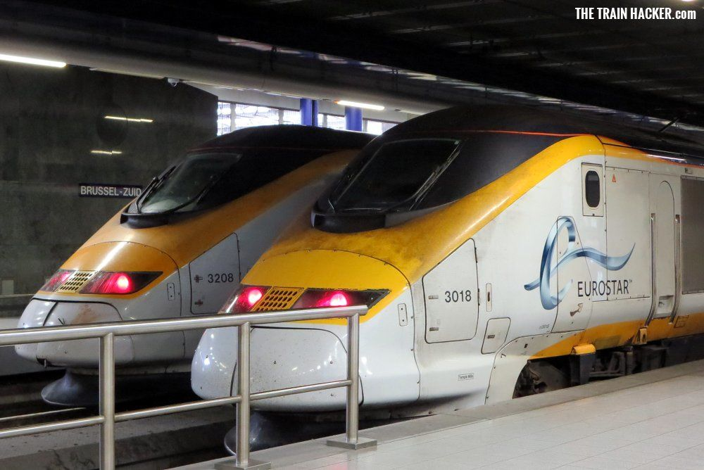 Eurostar trains at Brussels Zuid (South) Train Station