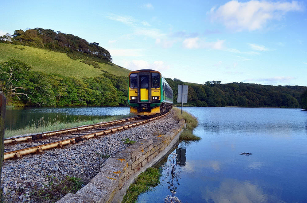 Train approaching Terras Crossing on The Looe Valley Line