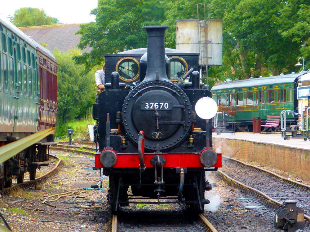 Steam engine and crew at Kent & East Sussex Railway