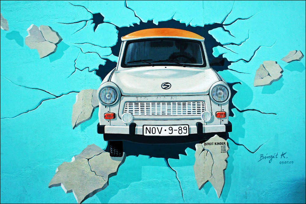 Trabant car on the East Sid Gallery in Berlin