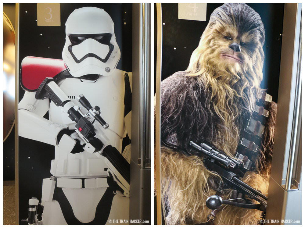 First Order Stormtrooper and Chewie - interior Star Wars train