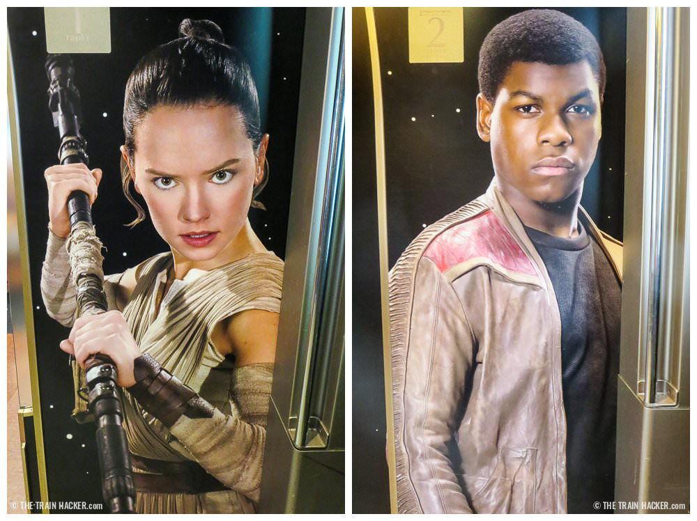 Rey and Finn - Star Wars train interior