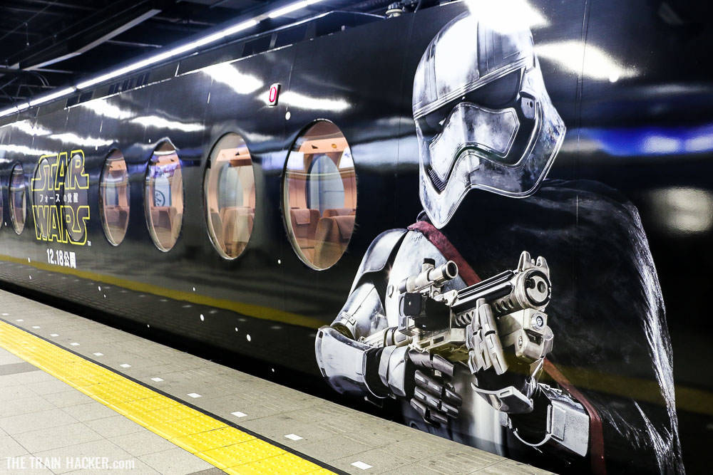 Captain Phasma on the exterior of the Star Wars train