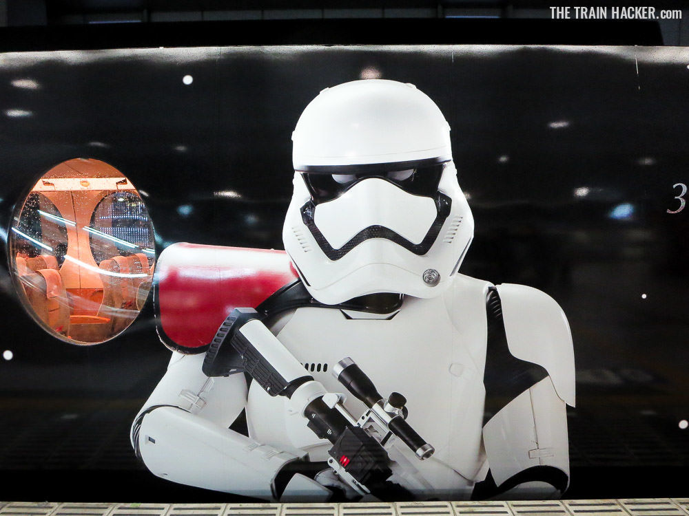 First Order Stormtrooper on the exterior of the Star Wars Train