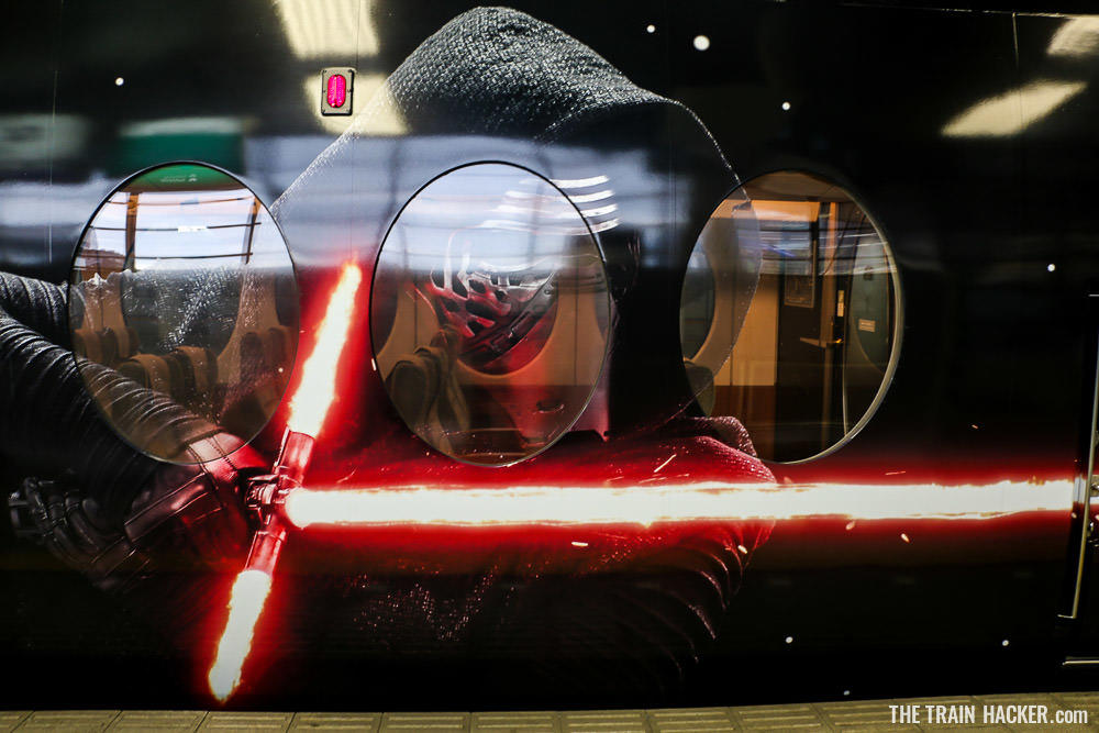 Kylo Ren on the exterior of the Nankai Limited Express Star Wars train