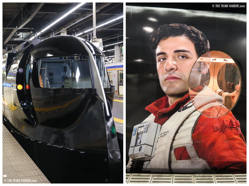Front of the Star Wars train and Poe Dameron