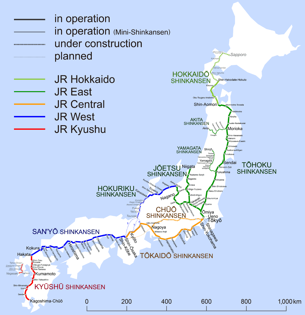 Japan Rail Pass Shinkansen Map