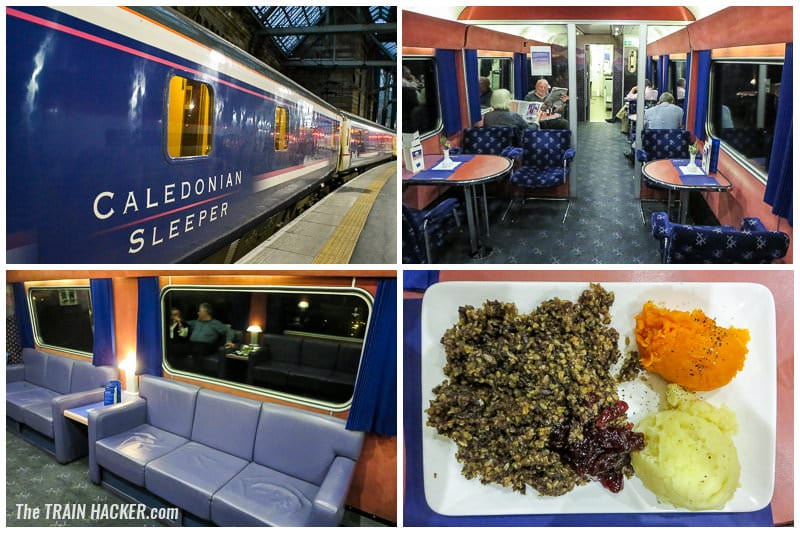 Caledonian Sleeper lounge car and food