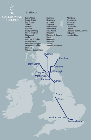 Caledonian Sleeper map