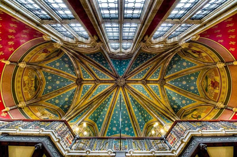 Ceiling above the Grand Staircase at the St Pancras Renaissance Hotel