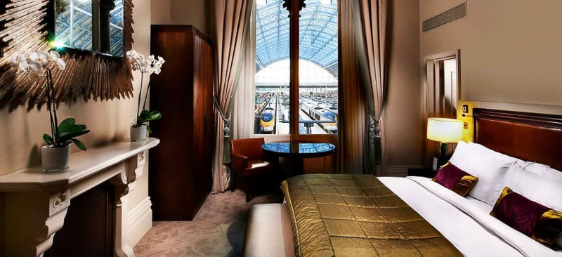St Pancras Renaissance Hotel suite overlooking St Pancras International station