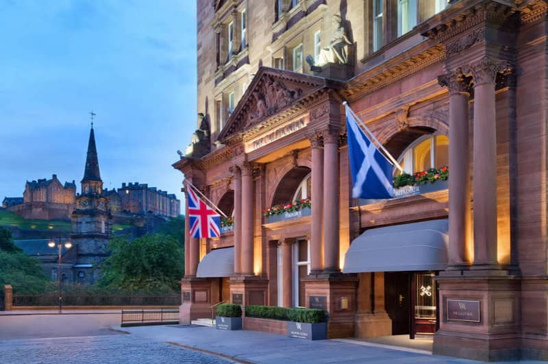 The Caledonian Hotel with Edinburgh Castle in the background