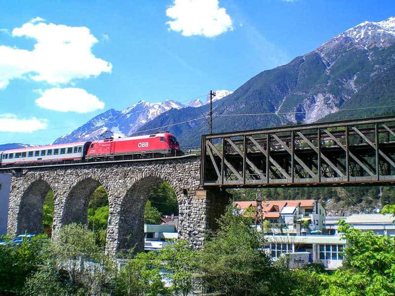 Train on Inn Bridge - Arlberg Line