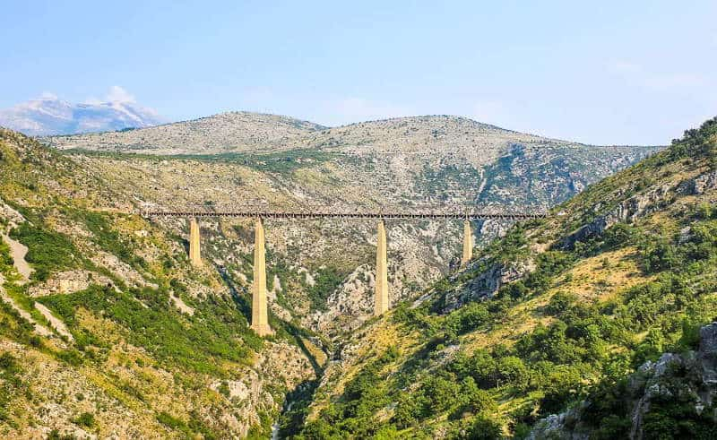 Belgrade to Bar train crossing the Mala Rijeka viaduct