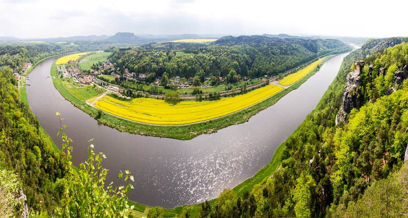 Panoramic view of the River Elbe near Sächsischer Schweiz