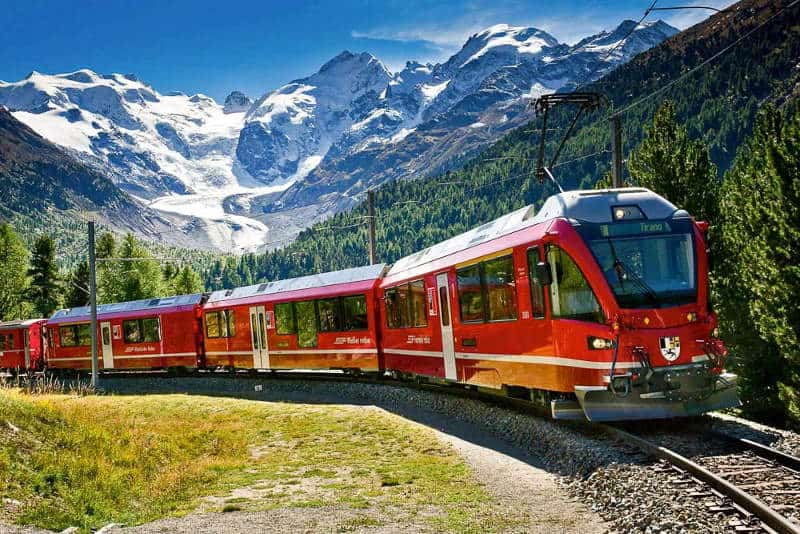 Alpine scenery on the Bernina Express