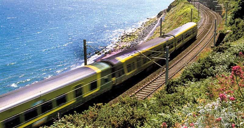 Scenic coastal Dublin to Rosslare Railway