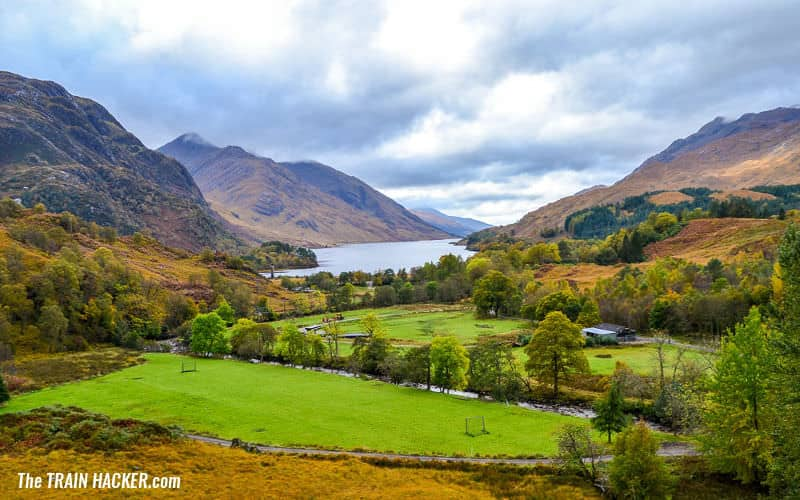 Scenic view of Loch Shiel from the Glenfinnan Viaduct, Scotland