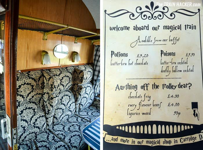 Harry Potter style train carriage compartment and menu