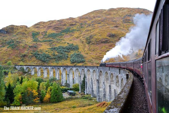 The Jacobite crossing the Glenfinnan Viaduct from the train