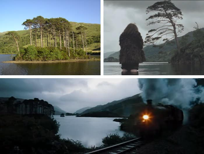Loch Eilt and Eilean na Moine island in real life and Harry Potter movies