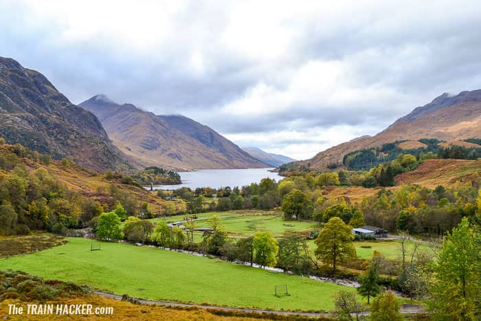 View of Loch Shiel while onboard the Jacobite steam train on the Glenfinnan Viaduct