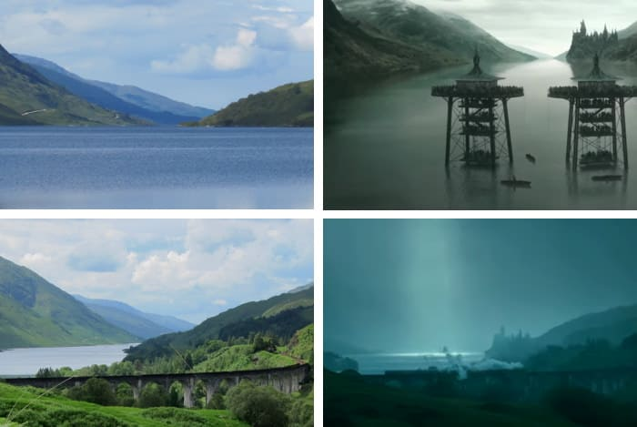 Loch Shiel in real life compared to Harry Potter movie scenes