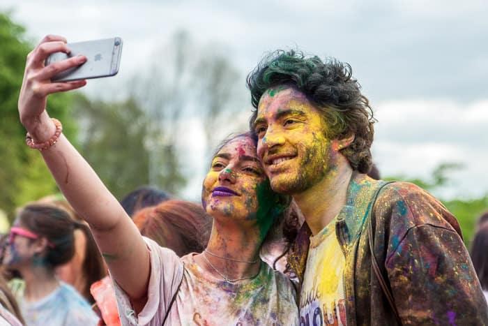 Students in Britain having fun taking a selfie